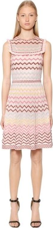 Zigzag Lurex Knit Dress W Ruffles