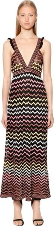 Zigzag Lurex Knit Maxi Dress