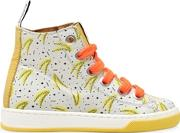 Bananas Print Leather High Top Sneakers