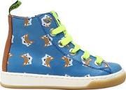 Fox Printed Leather High Top Sneakers