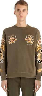 Dragon Embroidered Jersey Sweatshirt