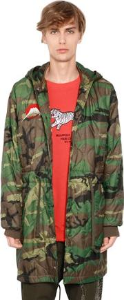 Hooded Camo Quilted Nylon Parka