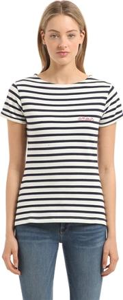Amour Embroidery Striped Jersey T Shirt