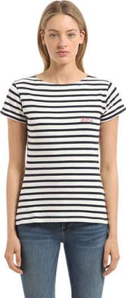 Cherie Embroidery Striped Jersey T Shirt