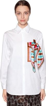 Cotton Poplin Shirt W Pocket & Scarf