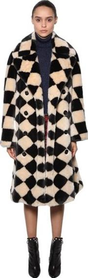 Damier Faux Fur Coat