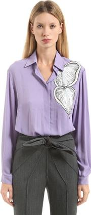 Lurex Embroidered Crepe Georgette Shirt