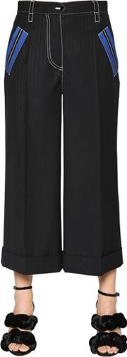Pinstriped Cool Wool Cropped Pants