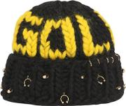 Gold Wool Knit Beanie With Piercings