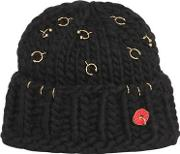 Wool Knit Beanie With Piercings