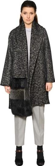 Wool & Cotton Coat W Fur Detail
