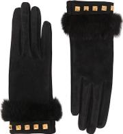 Suede Gloves With Mink Fur & Studs
