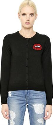 Lip Embellished Wool Cardigan
