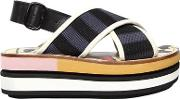 80mm Cotton Crossover Wedge Sandals
