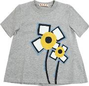 Flowers Printed Cotton Jersey T Shirt