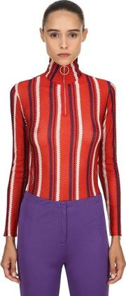 Striped Viscose Knit Sweater