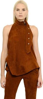 Belt Detail Suede Halter Top