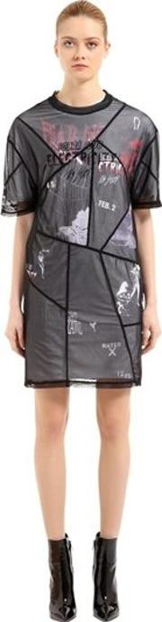 Printed Stretch Tulle & Jersey Dress