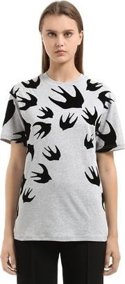 Swallow Flocked Cotton Jersey T Shirt