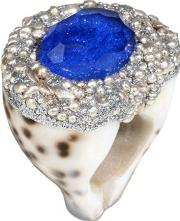 Cowrie Shell W Topaz, Blue Bali Ring