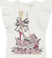 Embellished Ruffled Jersey T Shirt