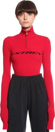 Extacy Half Zip Cotton Rib Knit Sweater