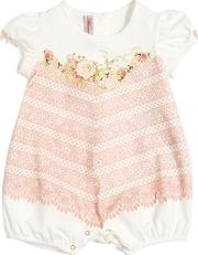 Lace Printed Cotton Jersey Romper
