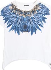 Feathers Printed Cotton Jersey T Shirt