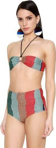 Greece Striped Lurex High Waist Bikini
