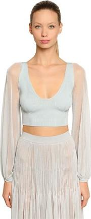 Lurex Knit Crop Top
