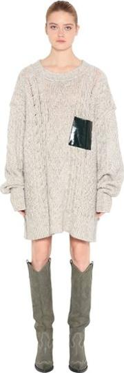 Cotton Blend Loose Knit Sweater Dress