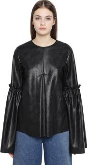 Faux Leather Bell Sleeve Top