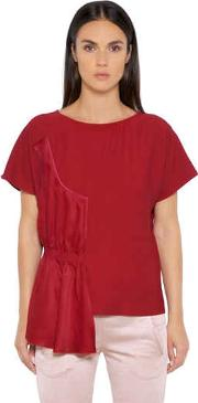 Fluid Viscose Top With Draped Panel