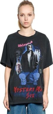 Mystery Man Print Cotton Jersey T Shirt