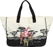 Safari Print Cotton Canvas Tote Bag