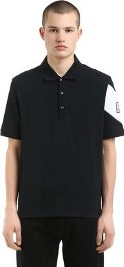 Cotton Pique Polo With Printed Sleeve