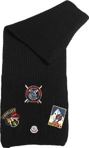 Wool Knit Scarf W Patches