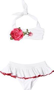 Doubled Lycra Bikini With Rose Patch