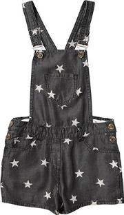Stars Printed Chambray Short Overalls