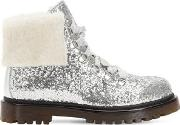 Glittered Faux Leather Combat Boots