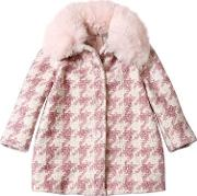 Houndstooth Printed Boucle Coat