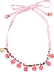 Necklace With Flowers & Crystals