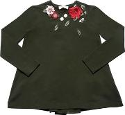Roses Patch Cotton Jersey T Shirt