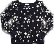 Stars Embroidered Tulle & Jersey Top