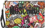 Graffiti Print Quilted Nylon Pouch