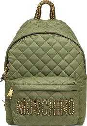 Large Studded Quilted Nylon Backpack