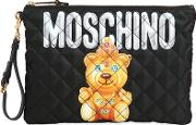 Large Teddy Bear Quilted Nylon Clutch