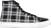 Plaid Fabric High Top Sneakers