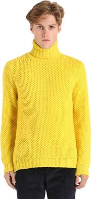 Wool Honeycomb Knit Turtleneck Sweater