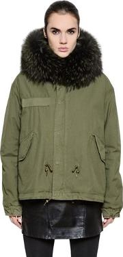 Cotton Canvas Jacket With Murmansky Fur